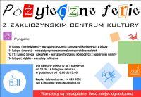 Czytaj więcej: Pożyteczne ferie z Zakliczyńskim Centrum Kultury